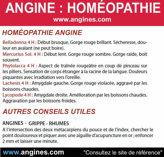 Angine : Homéopathie angine